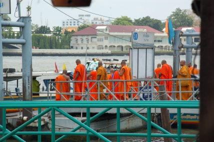Monks awaiting a water taxi