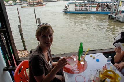 Eating lunch on the river in Bangkok