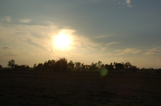 Sun sets over the rice fields